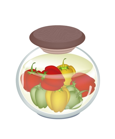 condiment: Illustration of Delicious Pickled Bell Peppers or Sweet Peppers in Vinegar, Sugar, Salt and Condiment in A Glass Jar.