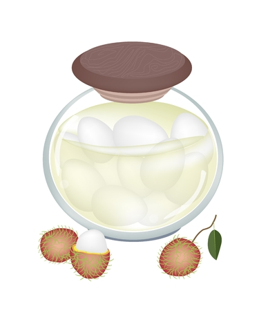 preserved: Fruit, An Illustration of Preserved Rambutans or Rambutan Compote in Syrup of Water and Sugar in Glass Jar Isolated on White Background.
