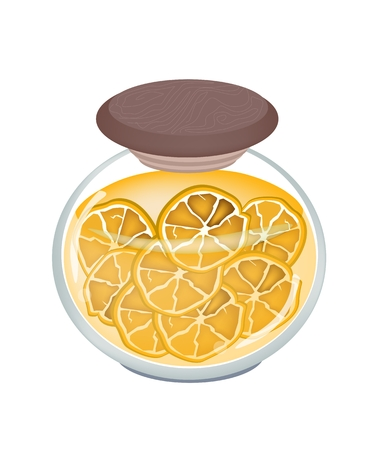 Fruit, An Illustration of Preserved Oranges, Orange Jam or Oranges Compote in Syrup of Water and Sugar in Glass Jar Isolated on White Background.  Vector