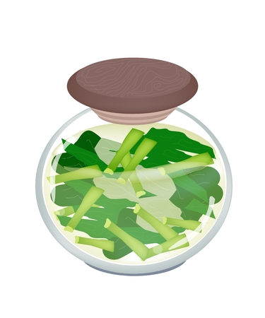 kale: Vegetable, An Illustration of Pickled Chopped Chinese Kale or Chinese Broccoli in Brine of Vinegar and Salt in A Glass Jar Isolated on White Background.