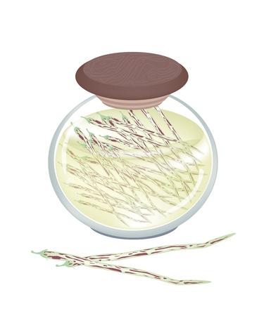 dietary fiber: Centrosema Pubescens Pods in Vinegar, Sugar, Salt and Condiment in A Glass Jar, Good Source of Dietary Fiber, Vitamins and Minerals