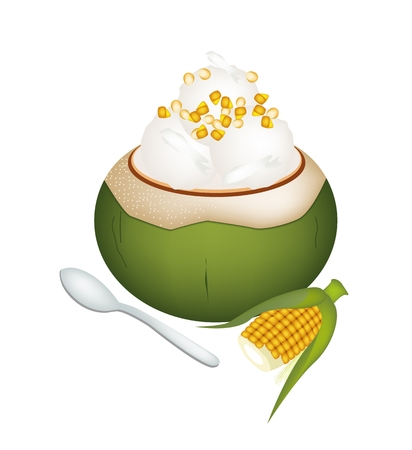 topped: Sweet Food and Dessert, An Illustration of Coconut Ice Cream in Coconut Shell and Topped with Sweetcorns.