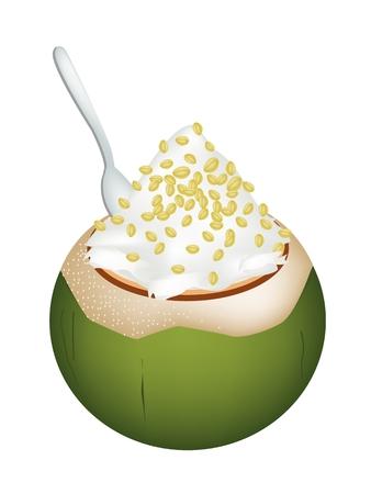 甘い食べ物: 甘い食べ物やデザート、ココナッツの殻にココナッツ アイス クリームのイラストと分割エンドウ豆をトッピングします。