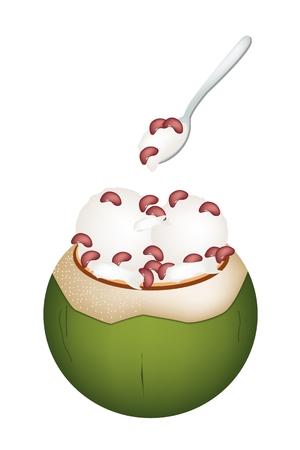 甘い食べ物: 甘い食べ物やデザート、ココナッツの殻にココナッツ アイス クリームのイラストと腎臓豆をトッピングします。