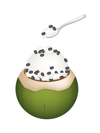 甘い食べ物: 甘い食べ物、デザートは、ココナッツの殻、ココナッツ アイス クリームのイラストと黒豆をトッピングします。  イラスト・ベクター素材