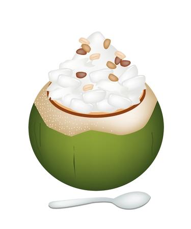 甘い食べ物: 甘い食べ物やデザート、ココナッツ ココナッツ アイス クリームのイラスト シェルと甘いパーム キャンディとロースト ピーナッツをトッピング。  イラスト・ベクター素材