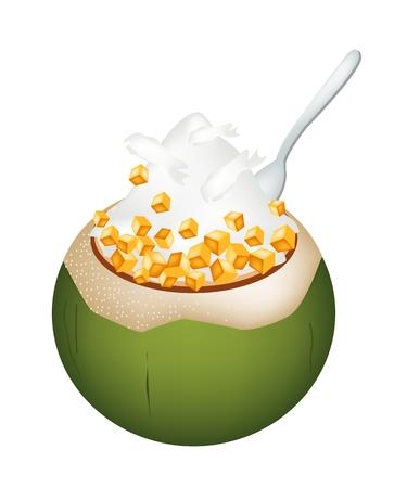 甘い食べ物: 甘い食べ物やデザート、ココナッツの殻にココナッツ アイス クリームのイラストとロースト ピーナッツ、サツマイモをトッピングします。