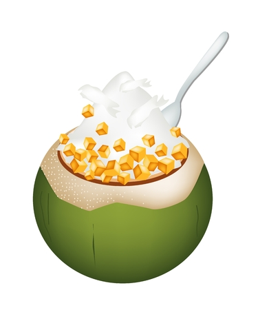 Thai dessert: Sweet Food and Dessert, An Illustration of Coconut Ice Cream in Coconut Shell and Topped with Roasted Peanuts and Sweet Potatoes.
