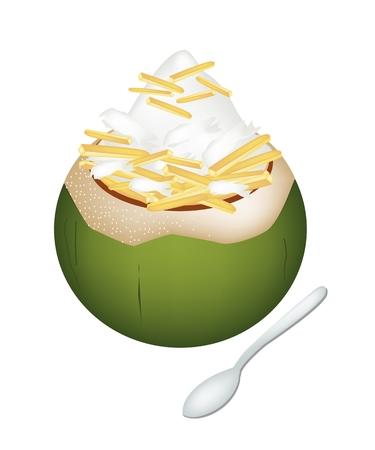 甘い食べ物: 甘い食べ物やデザート、ココナッツの殻にココナッツ アイス クリームのイラストとロースト ピーナッツをトッピングします。