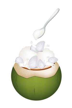 甘い食べ物: 甘い食べ物やデザート、ココナッツの殻にココナッツ アイス クリームのイラストとロースト ピーナッツと里芋の甘いトッピングします。  イラスト・ベクター素材