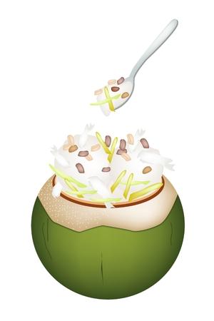 甘い食べ物: 甘い食べ物やデザート、ココナッツの殻にココナッツ アイス クリームのイラストとジャック フルーツやロースト ピーナッツをトッピングします。