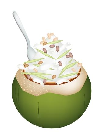 甘い食べ物: 甘い食べ物やデザート、ココナッツのイラストはココナッツの殻でアイスクリームし、ロースト ピーナッツ、緑米麺をトッピングします。