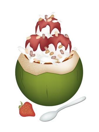 甘い食べ物: 甘い食べ物やデザート、ココナッツの殻にココナッツ アイス クリームのイラストとイチゴ シロップとロースト ピーナッツをトッピングします。
