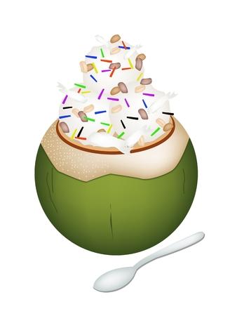 甘い食べ物: 甘い食べ物やデザート、ココナッツの殻にココナッツ アイス クリームのイラストと焼かれたピーナツおよびチョコレート振りかけるトッピングします。