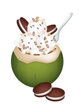 甘い食べ物: 甘い食べ物やデザート、ココナッツの殻にココナッツ アイス クリームのイラストと焼かれたピーナツおよびチョコレート クッキーをトッピングします。  イラスト・ベクター素材