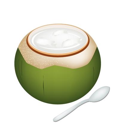 甘い食べ物: 甘い食べ物、デザートは、ココナッツの殻の白い背景で隔離の甘いココナッツ ゼリーのイラスト。