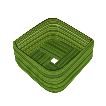 Thai Traditional, Illustration of Food Container Made From Coconut Leaf or Count Coconut Leaf Isolated on A White Background.  Vector