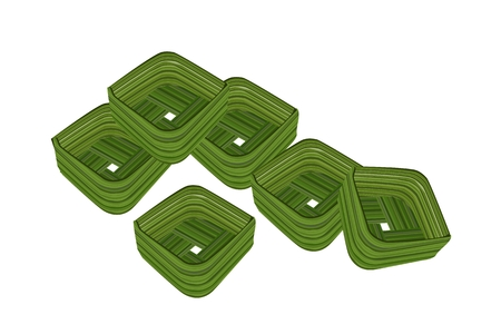 Thai dessert: Thai Traditional, Food Container Made From Coconut Leaf or Count Coconut Leaf Isolated on A White Background.