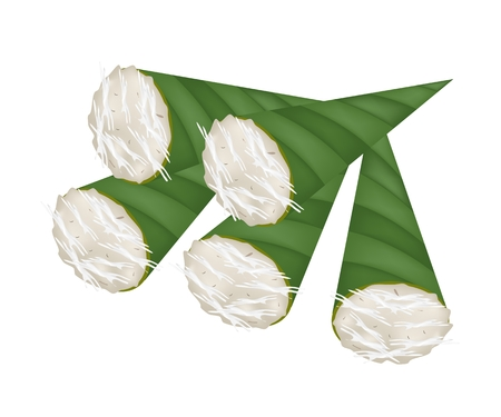 Thai Traditional Dessert, An Illustration of Kanom Gluay or Banana Pudding Made From Coconut, Banana, Flour and Sugar in Banana Leaf Container.   Vector