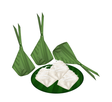 Thai Traditional Dessert, An Illustration of Kanom Gluay, Banana Sweetmeat or Banana Pudding Made From Coconut, Banana, Flour and Sugar in Banana Leaf Container.  Vector