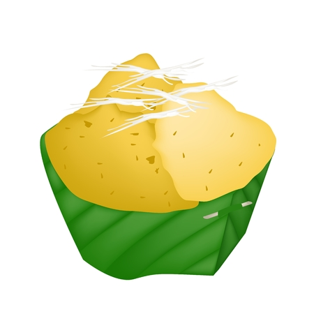 banana leaf: Thai Traditional Dessert, Freshly Homemade of Sweet Toddy Sugar Palm Cake with Coconut in Banana Leaf Container.  Illustration