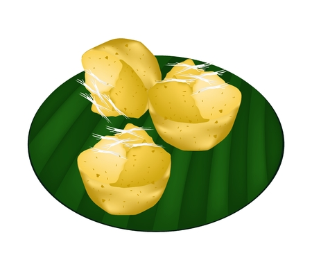 banana leaf: Thai Traditional Dessert, Freshly Homemade of Sweet Toddy Palm Cake with Coconut on Banana Leaf.  Illustration