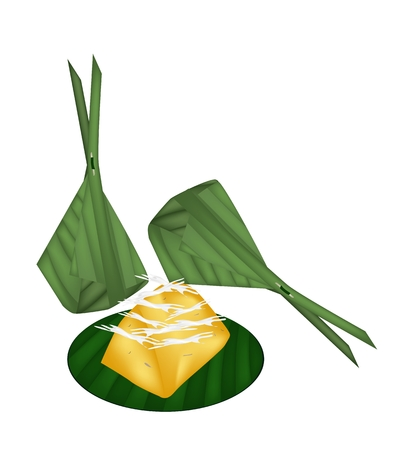 Thai Traditional Dessert, Freshly Homemade of Sweet Toddy Palm Cake with Coconut Wrapped in Banana Leaf Container.  Vector