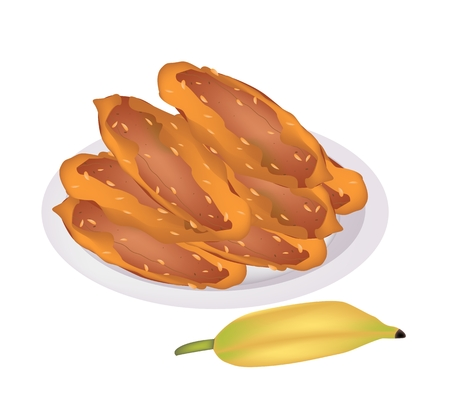 sweetened: Thai Snack and Dessert, An Illustration of Sweetened Fried Bananas or Banana Fritters on A White Plate with Ripe Yellow Banana.  Illustration