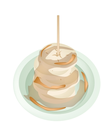 thai dessert: Thai Snack and Dessert, An Illustration of Roasted Bananas or Grilled Bananas on A White Plate with Coconut Milk Syrup.