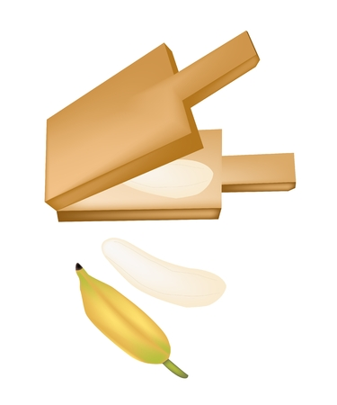 thai dessert: Thai Snack and Dessert, An Illustration of Ripe Bananas, Roasted Bananas or Grilled Bananas in A Wooden Pressure.