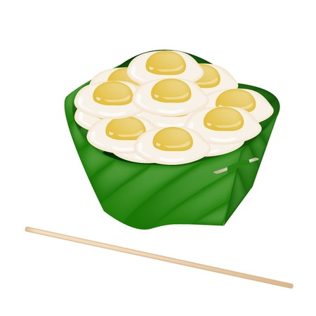 Thai Street Food, An Illustration Fried Quail Eggs in Banana Leaf Container Isolated on A White Background.  Vector