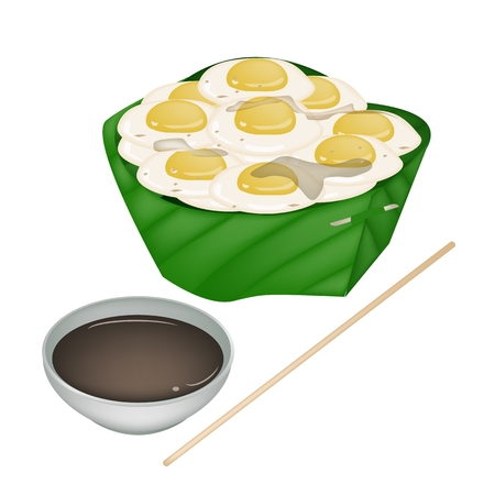 Thai Street Food, Illustration Fried Quail Eggs in Banana Leaf Container Isolated on A White Background.  Vector