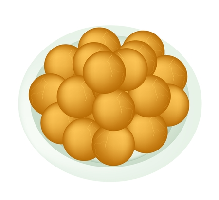 side dish: Food and Snack, An Illustration of Cheese Balls, Dauphine Potato, Deep Fried Sweet Potato Balls or Croquettes on A White Plate.  Illustration