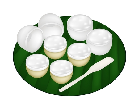 Thai Traditional Dessert, An Illustration of Kanom Thuay or Coconut Pudding Made From Coconut, Tapioca Flour, Pandan Leaves and Sugar on Banana Leaf.  Vector