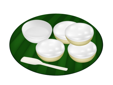 Thai Traditional Dessert, Illustration of Kanom Thuay or Coconut Pudding Made From Coconut, Tapioca Flour, Pandan Leaves and Sugar on Banana Leaf.  Vector