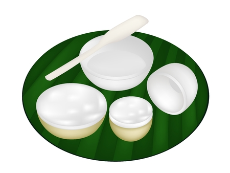 Thai Traditional Dessert, Illustration of Kanom Thuay or Coconut Pudding Made From Coconut, Tapioca Flour, Pandan Leaves and Sugar on Green Banana Leaf.  Vector