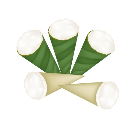 Thai Traditional Dessert, Illustration of Kanom Thuay or Coconut Pudding Made From Coconut, Tapioca Flour, Pandan Leaves and Sugar in Banana Leaf Cone.  Vector