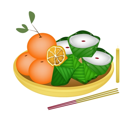 sweetmeat: Stuffed Dough Pyramid Dessert and Chinese Pudding or Chinese Sweetmeat with Sweet Orange for Pay Respect to God in Chinese New Year.