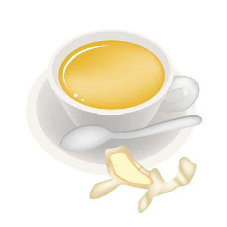 take out: Food and Beverage, Ginger Tea with Fresh Ginger and Herb in A Coffee Cup Isolated on A White Background