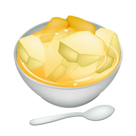 甘い食べ物: デザート、甘い食べ物、ボウル、白い背景で隔離のジンジャー ティーと甘いポテトのイラスト。  イラスト・ベクター素材