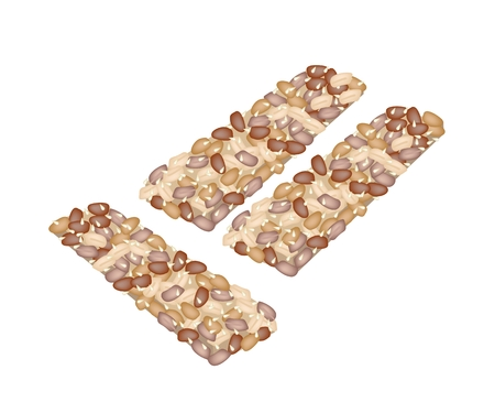 Peanut Biscuits Made of Peanut or Groundnut, Rice and Sesame, Thai Snack of Dietary Fiber, Vitamins and Minerals.  Vector