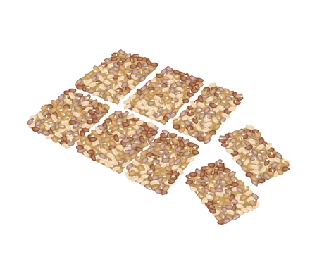 cereal bar: Illustration of Peanut Biscuits Made of Peanut or Groundnut, Rice and Sesame, Thai Snack of Dietary Fiber, Vitamins and Minerals.