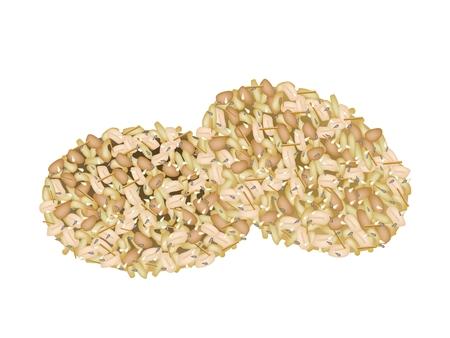 dietary fiber: Illustration of Peanut Cookies Made of Peanut or Groundnut, Rice and Sesame, Thai Snack of Dietary Fiber, Vitamins and Minerals.  Illustration