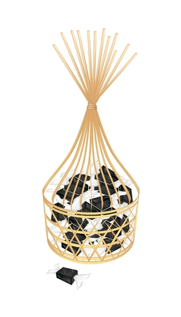 Illustration of Thai Style Sweet Candy or Banana Candy Wrapped in Candy Wrapper in A Beautiful Wicker Basket.  Vector