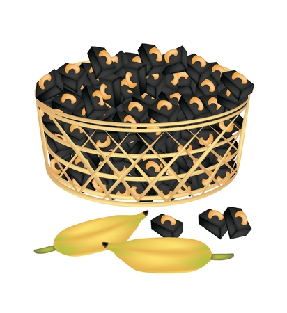 Illustration of Thai Style Sweet Candy or Banana Candy with Roasted Cashew Nuts in A Beautiful Wicker Basket.