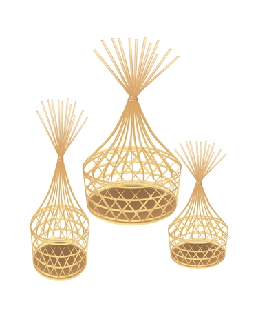 An Illustration Thee Beautiful Brown Handicraft Bamboo Wicker Basket Isolated on A White Background.  Vector