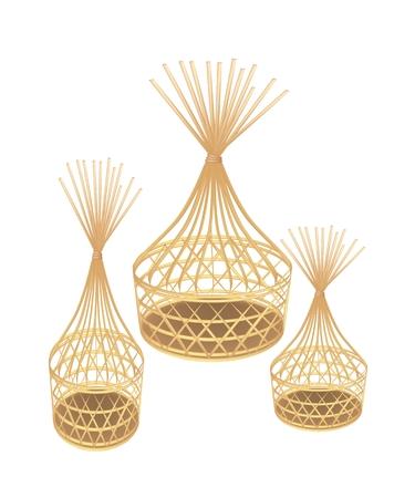 rekodzielo: Ilustracja Thee Piękne brązowe Rękodzieło Bamboo koszyk wikliny samodzielnie na białym tle.