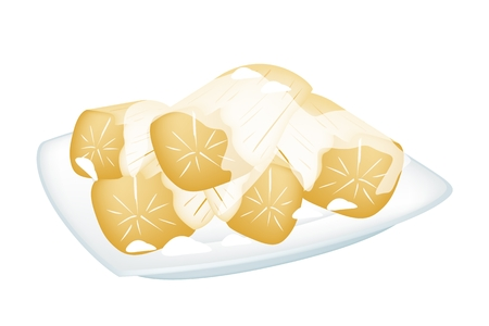 wild yam: Thai Dessert, An Illustration of Sweet Ripe Potato Boiled in Coconut Milk on A White Bowl Isolated on White Background.  Illustration