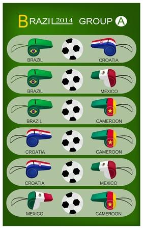 nações: Brasil 2014 Grupo A, as bandeiras de 4 Na Ilustração