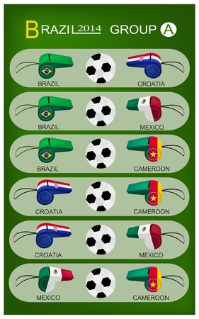 Brazil 2014 Group A, The Flags of 4 Nations of Football or Soccer Championship in Final Tournament at Brazil.  Vector